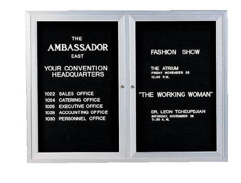 "2-Door Wall-Mounted Letter Board, 60"" W x 36"" H"