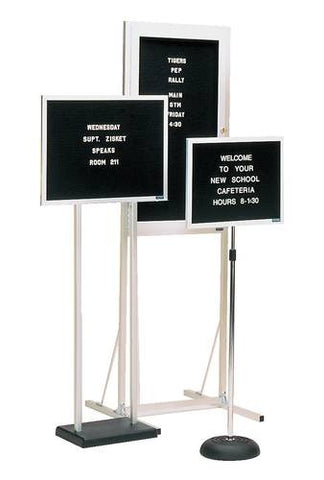 "Shown with Model 36028 (18""W X 14""H Single Pedestal Adjustable Height Portable Letter Board), Model 36060 (30""W X 36""H Double Pedestal Fixed Height Portable Letter Board)."