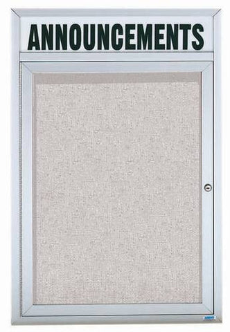"Aluminum Announcement Board with Header, 1 Door, 18"" W x 24"" H, Outdoor"