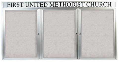 "Aluminum Announcement Board with Header, 3 Doors, 72"" W x 36"" H, Outdoor"