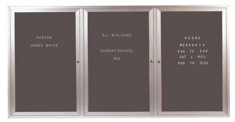 "3-Door Wall-Mounted Letter Board, 72"" W x 36"" H"