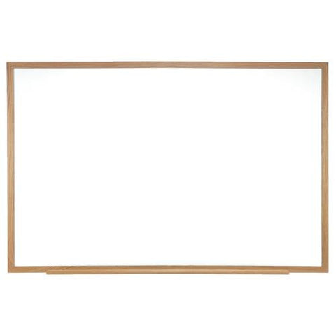 Acrylate Whiteboard Markerboard, 5' W x 4' H, Wood Frame