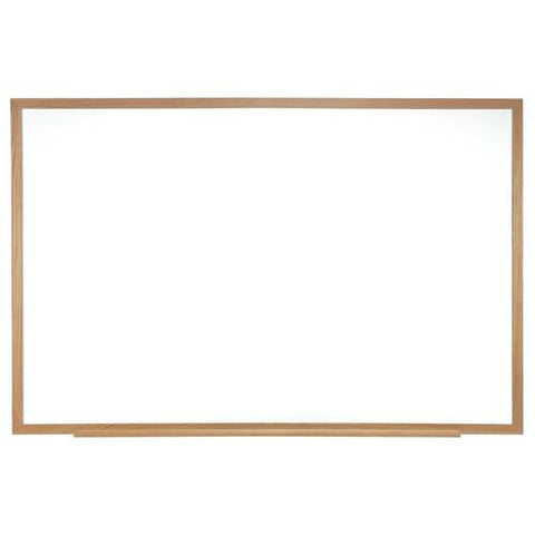 Acrylate Whiteboard Markerboard, 6' W x 4' H, Wood Frame