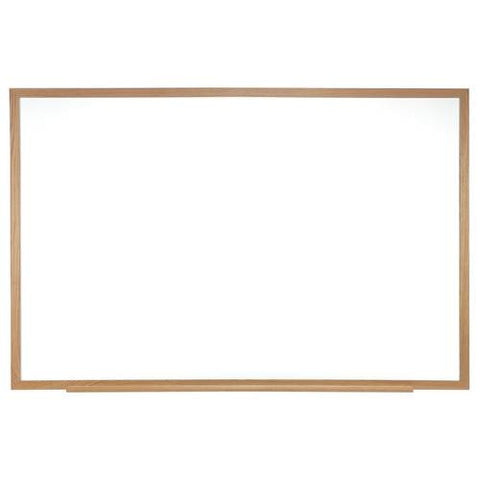Acrylate Whiteboard Markerboard, 8' W x 4' H, Wood Frame