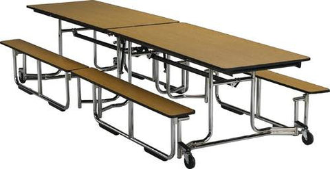 "E-Z-Fold Roll-A-Way Table with Benches, 140"" L, Chrome Frame"