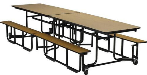 "E-Z-Fold Roll-A-Way Table with Benches, 140"" L, Perfect Edge, Black Frame"