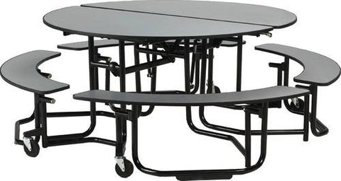 "E-Z-Fold Roll-A-Way Table with Split Benches, 60"" Round, Black Frame, Perfect Edge"