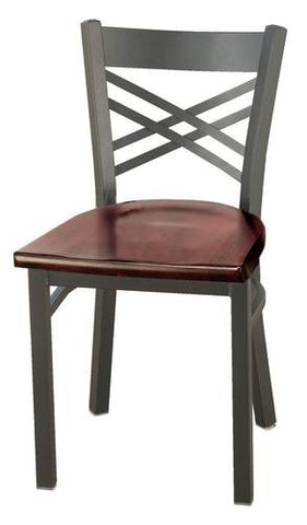 Bistro Style Chair, Metal Back, Wood Seat