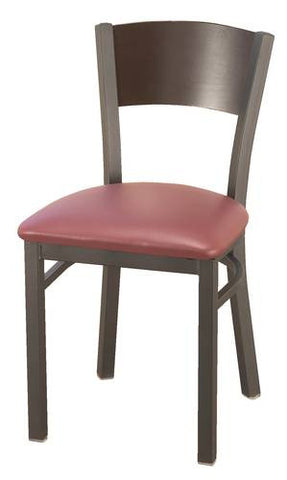 Bistro-Style Chair, Vinyl Seat, Wood Back
