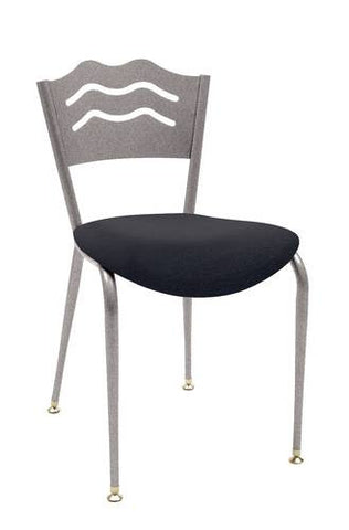 Bistro Style Chair, Metal Back, Vinyl Seat