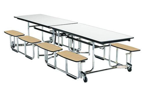 "E-Z Fold Roll-A-Way Table, 30"" x 141"", Perfect Edge, Chrome Frame"