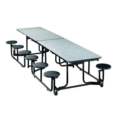 "E-Z-Fold Roll-A-Way Table, 12 Stools, 120"" L, Black Frame"