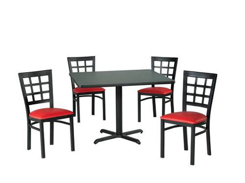 Elegant Table Shown With 4 Each Model 413055 GV Chairs.
