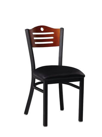 Bistro Chair, Vinyl Upholstered Seat, Wood Designer Back