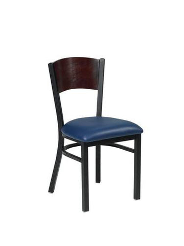 Bistro Chair, Vinyl Upholstered Seat, Solid Wood Back