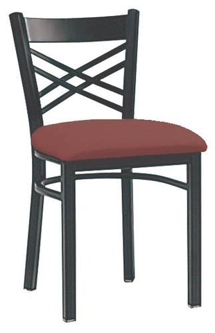 Amazing Bistro Chair, Vinyl Upholstered Seat, Metal Cross Back