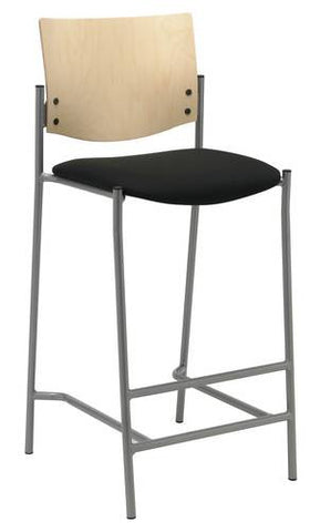 Barstool, Wood Back, Fabric Seat