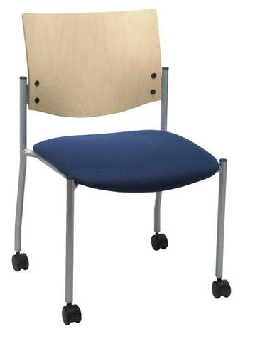 Armless Chair with Casters, Wood Back, Fabric Seat