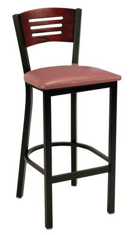 Bistro-Style Stool, Vinyl Seat, Wood Back