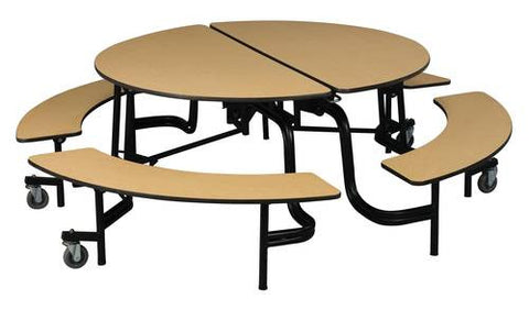"60"" Round Rollaway Table with Benches, Powder Coat Legs"