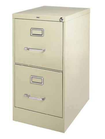 "Heavy-Duty Vertical File Cabinet, 2-Drawer Letter, 25"" Deep"