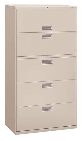"Hon® Brigade® 5-Drawer Lateral File, 36"" W x 19-1/4"" D x 67"" H"