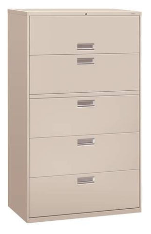 "Hon® Brigade® 5-Drawer Lateral File, 42"" W x 19-1/4"" D x 67"" H"