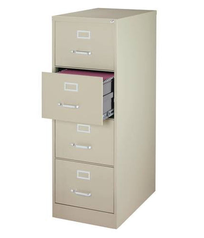 "Heavy-Duty Vertical File Cabinet, 4-Drawer Legal, 25"" Deep"