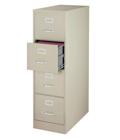 "Heavy-Duty Vertical File Cabinet, 4-Drawer Letter, 26-1/2"" Deep"