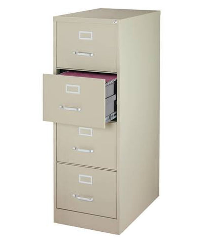 "Heavy-Duty Vertical File Cabinet, 4-Drawer Legal, 26-1/2"" Deep"