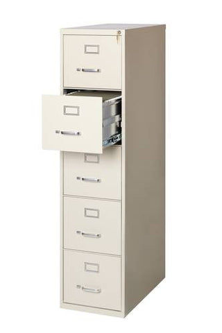 "Heavy-Duty Vertical File Cabinet, 5-Drawer Letter, 26-1/2"" Deep"