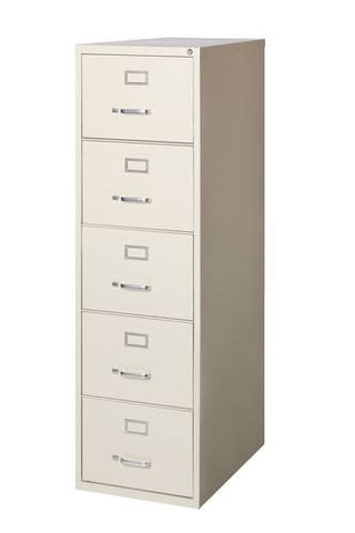 "Heavy-Duty Vertical File Cabinet, 5-Drawer Legal, 26-1/2"" Deep"