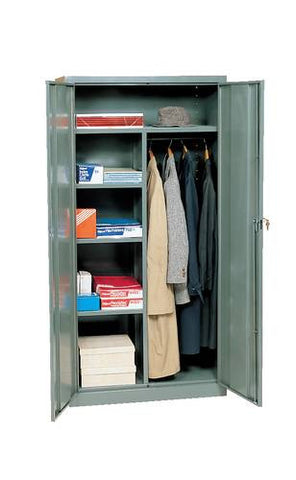 "Weldon Steel Combination Storage and Wardrobe Cabinet, Shipped Knocked-Down, 78"" H x 18"" D"