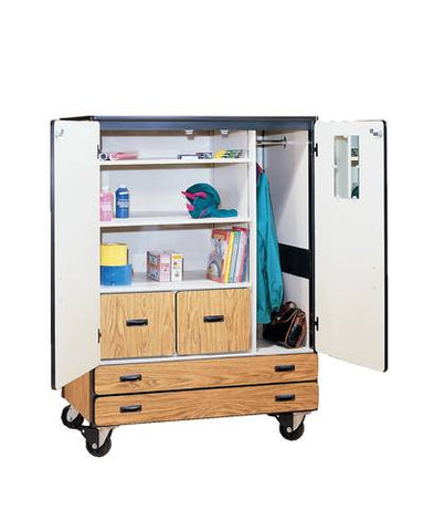 Heavy-Duty Mobile Classroom Combination Wardrobe/Supply Storage Cabinet