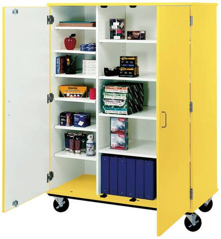 12-Shelf Colorful Mobile Classroom Cabinet