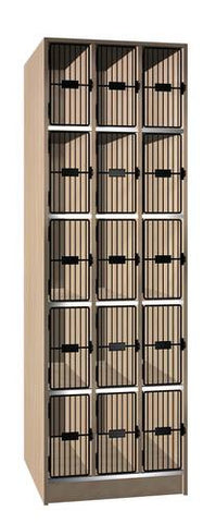 Music Instrument Storage Cabinet with Black Grill Doors, 15 Equal Compartments