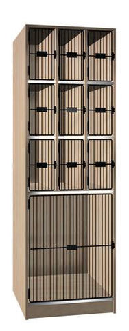 Music Instrument Storage Cabinet with Black Grill Doors, 10 Compartments