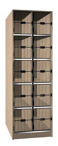 Music Instrument Storage Cabinet with Black Grill Doors, 10 Equal Compartments