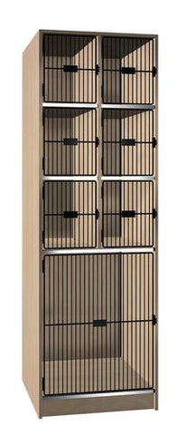 Music Instrument Storage Cabinet with Black Grill Doors, 7 Compartments
