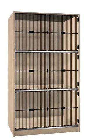 Music Instrument Storage Cabinet with Black Grill Doors, 3 Equal Compartments
