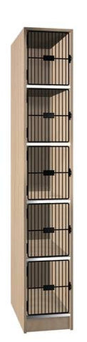 Music Instrument Storage Cabinet with Black Grill Doors, 5 Equal Compartments