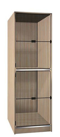 Music Instrument Storage Cabinet with Black Grill Doors, 2 Equal Compartments
