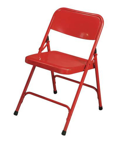 Premium All-Steel Folding Chair with Two U-Braces, Red Frame