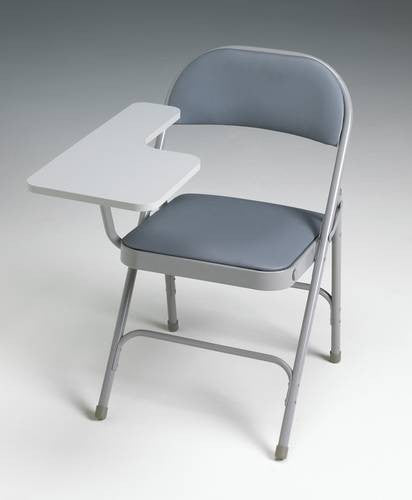 Folding Tablet Arm Chair, Padded Vinyl Seat And Back