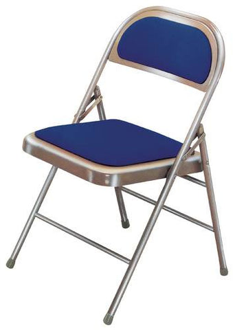 "Super Strong Folding Chair, Triple Braces, 1/2"" Padded Vinyl Seat and Back"