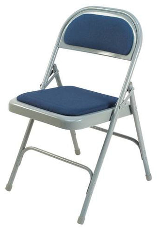 "Extra-Strong Folding Chair, 1"" Padded Seat, 1/2"" Padded Back, Vinyl Upholstery"