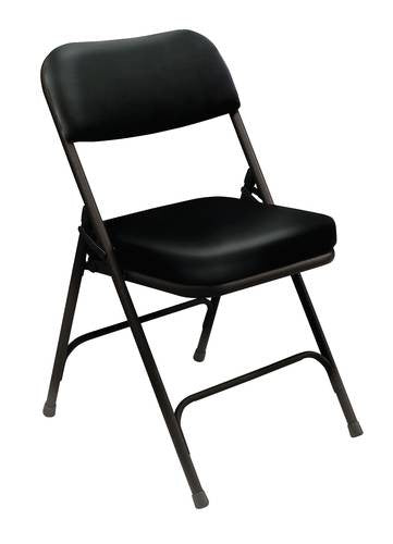 Superbe Deluxe Padded Folding Chair, Vinyl Upholstery. Black/Black
