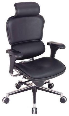Ergohuman High-Back Chair, Black Leather Upholstery with Adjustable Headrest