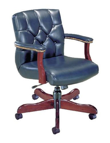 Traditional Manager's Swivel Chair, Leather Upholstery