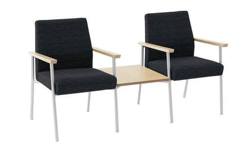 Mystic Series 2 Chairs with Connecting Table, Healthcare Vinyl Upholstery